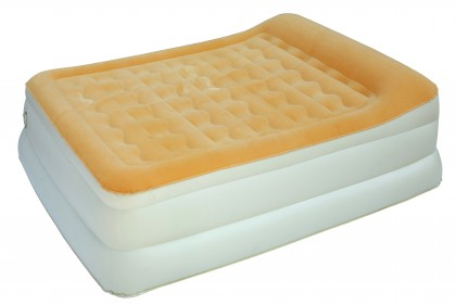 "24"" High 3 Layer Flocked Air Bed with Raised Up Pillow"