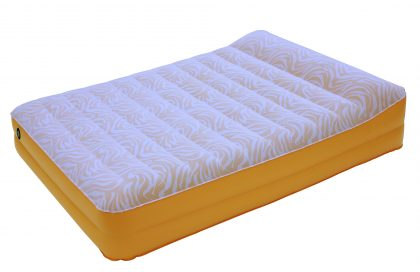 """17"""" High 2 Layer Printed Flocked Air Bed with Raised Up Pillow"""